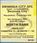Tickets for Swansea City versus Macclesfield or...