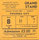 Ticket for Cardiff City versus Swansea City, 1980