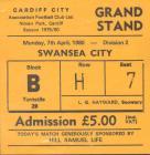 Tocyn Cardiff City erbyn Swansea City, 1980