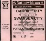 Ticket for Cardiff City versus Swansea City, 1996