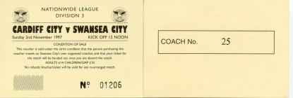 Tocyn Bws Cardiff City erbyn Swansea City, 1997