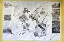 Large black and white collage created during...