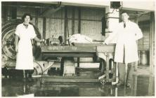 Staff and machinery at United Dairies, Carmarthen