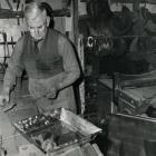 George Scammell creating a meat tin, 1968