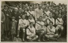 Postcard of Rhayader Town Football Club winning...