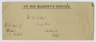 Letter from Alfred E Godsal to be sent to his...