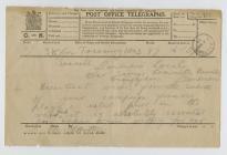 Telegram oddi wrth B.M.-C. Hutton, Trysorlys i ...