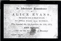 Funeral card of Alice Evans, Tan Y Ffos,...