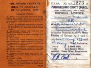 Driving Licence - 1958