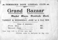 Pembroke Dock, Grand Bazaar, June 1909 - Programme