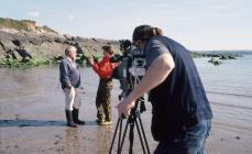 Dr Robin Crump - TV interview at West Angle Bay...