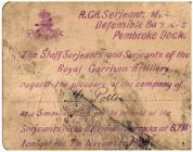 Invitation to Smoking Concert - 1902