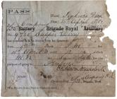 Military Absence Pass - 18 April 1881