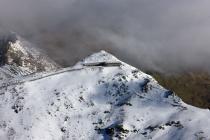 Snowdon summit under snow, showing railway...