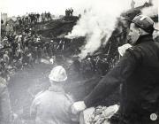 Steam rising up from rubble, Aberfan, 1966