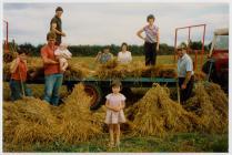Cynaeafu ysgubau ceirch, Penboyr, 1980au