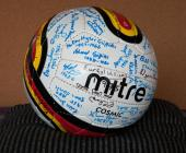 A football signed by guests attending the re...