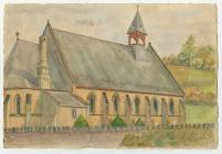 Watercolour of St.Barnabas Church, Velindre 1947