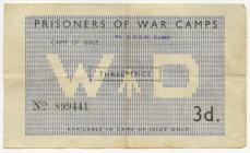 Prisoner of War Camp, Henllan; 3 pence ration...