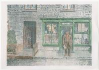 Mr Hindes outside his shop, Dre-fach Velindre