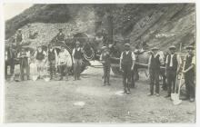 Workers in Llwyd Quarry, Cwmpengraig, about 1920.