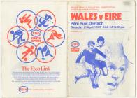 "Programme for the ""Wales v Eire""..."