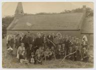 St Llawddog churchyard : grass cutting