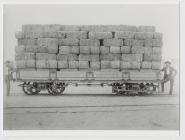Truckload of alfalfa hay at Gaiman station.