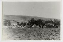 Corral with horses, primitive wooden fence, men...