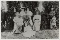 Posed group photograph, mixed ages.