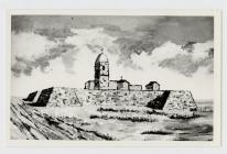 Photo of drawing of ancient fort .