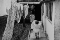 hanging washing on the line, 1960s