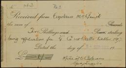 Receipt for ten shillings issued to Captain...