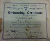 Swimming certificates for Ben Johnson and Jean...