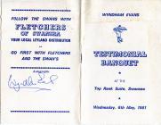 Wyndham Evans Testimonial Dinner 1981