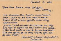 Letter from Christine Pryce Webler August 18, 1989
