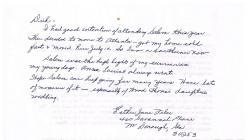 Letter from Esther Jane Piler 2006