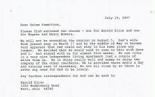 Letter from Harold Kline July 15, 2007