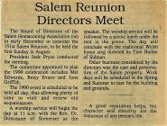 Article on Salem Homecoming Association Reunion...
