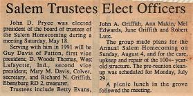 Salem Homecoming Association Articles 1991
