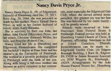 Nancy Pryce Jr. Obituaries 2013