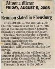 Salem Homecoming Association Reunion Articles 2005