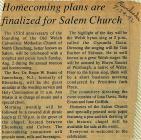 Salem Homecoming Association Reunion Articles...