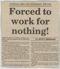Newspaper clipping: 'Jobless take on...