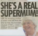 Newspaper clipping: 'She's a real...