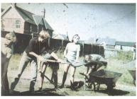 Photograph of volunteers preparing the site for...