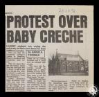 Newspaper article titled 'Protest over...