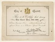 Award certificate for the service during the...