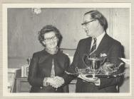 Photo: Susie receiving a tea set for 35 years...