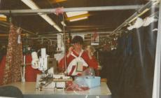 Photo: Carol at work at Laura Ashley, Christmas...